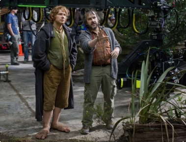 Peter jackson & Martin Freeman on set of The Hobbit: An Unexpected Journey