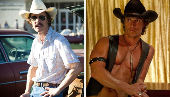 Matthew McConaughey in Dallas Buyers Club (left) and Magic Mike (right)