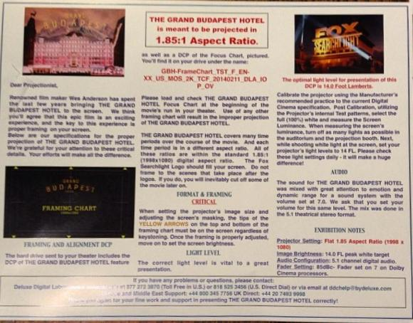 A list of instructions from Wes Anderson about how to properly show The Grand Budapest Hotel